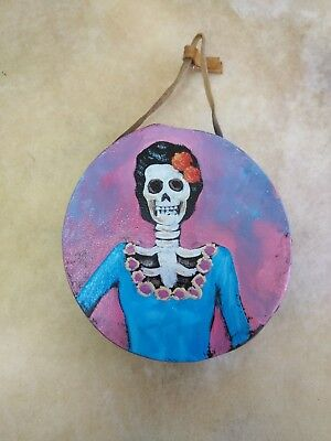 """Rawhide drums,Hand painted mini 4""""drum, catrina ,Souvenirs, Crafts,Gifts , #2"""