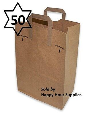50 count AJM Paper Grocery Bag 12x7x17 Kraft w/ Handle Plain, Made in USA