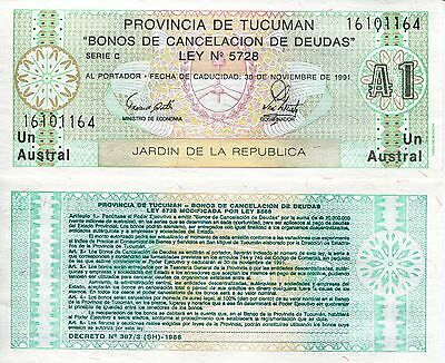 ARGENTINA 1 Austral Banknote World Money Currency Pick p2711 Provincia Tucuman