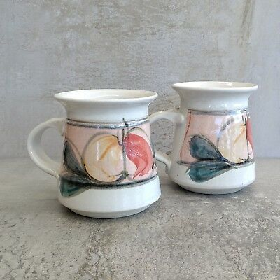 2 Retro Australian Pottery Coffee Mugs 320mls Stoneware Cups Handcrafted Pair
