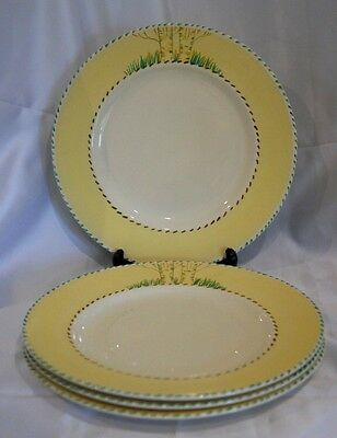 4 vintage Burleigh Ware pottery yellow rimmed dessert plates hand painted 1930s