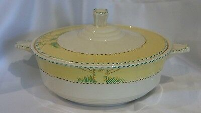 Vintage Burleigh Ware pottery yellow rimmed lidded tureen/casserole 1930s