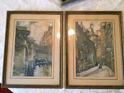 Vintage framed pair of pastel cityscapes 9 3/4 x 12 3/4 signed