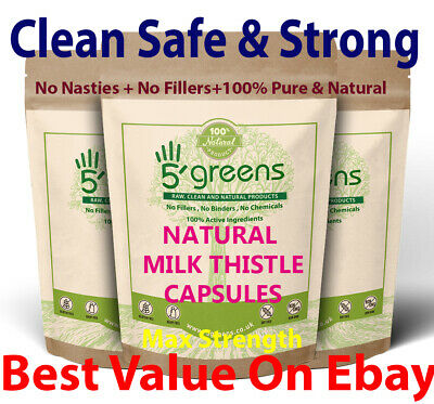 Milk Thistle Capsules Organic Certified 21250mg (380mg Silymarin) Detox Strong