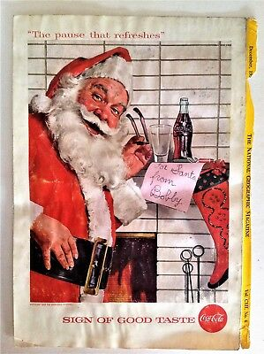 COKE COCA COLA December 1957 Ad Santa in front of fireplace For Santa from Bobby