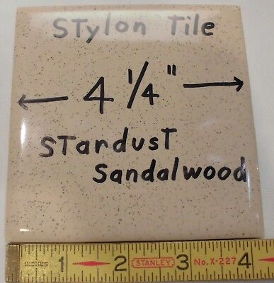 "6 pcs.  Ceramic Tiles...Stardust Sandalwood…by Stylon ...4-1/4"" New Old Stock"
