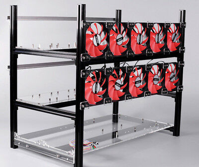 12 GPU Stackable Open Air Mining Rig Aluminium Frame Miner Case ETC BTH with FAN