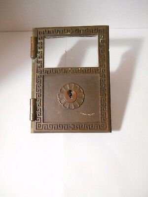 Vintage Brass Yale U.S. Post Office Mail Box Door with Wide Side Mounts