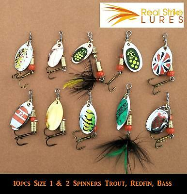 10pcs fishing lures Trout Spinners Redfin Bass Perch Cod yellowbelly Size 1 & 2