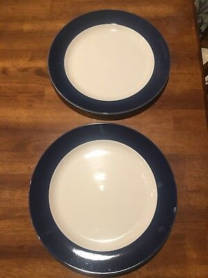 """Set of Two Homer Laughlin China 12 1/4"""" Blue Band best china made in USA EC"""