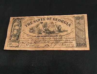 The State of Georgia Treasury Warrant One Hundred Dollars Copy
