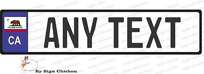 EURO STYLE  TAG BMW  European license plate, ANY TEXT, CALIFORNIA, STATE FLAG