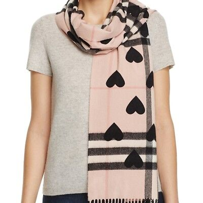 New Burberry Womens Reversible Heart Print Giant Check Cashmere Scarf