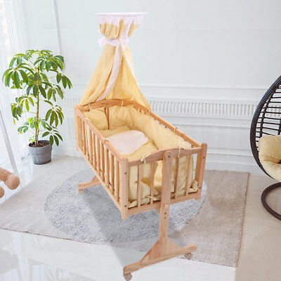 Wood Baby Cradle Rocking Bassinet Bed Sleeper Born Portable Nursery