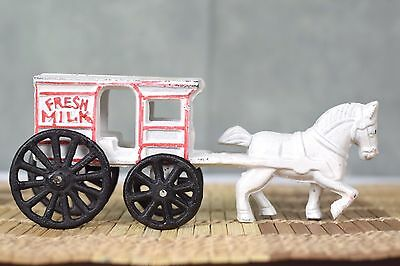 Vintage Cast Iron Fresh Milk Horse & Cart