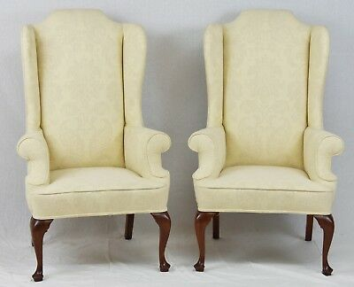 pair of kittinger mahogany wing back chairs queen anne style damask