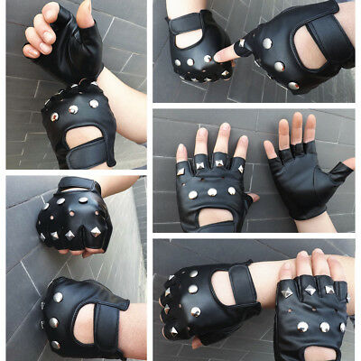 Punk Fingerless Gloves Motorcycle Faux Leather Wrist Length Studded Gloves FA215