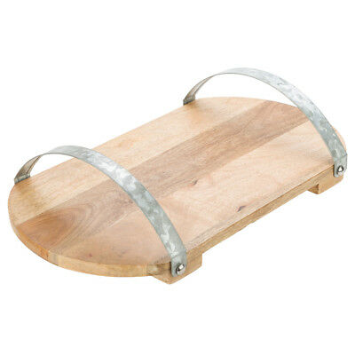 NEW Industrial Luxe Mango Wood Tray w/ Galvanised Iron Handles