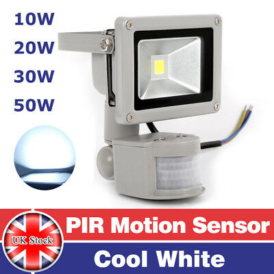 10/20/30/50W Cool White PIR Motion LED Floodlights Outdoor Security Flood Light