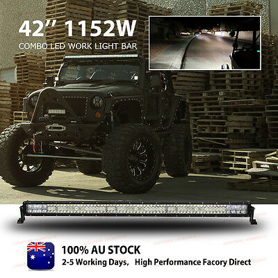 "CREE 1152W 42""inch FLOOD SPOT LED Work Light Bar Offroad Driving Lamp 4WD Truck"