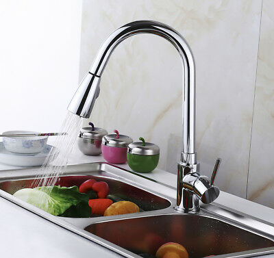 Modern Kitchen Sink Faucet Chrome Sink Tap Swivel Pull-Out Pull Down Spray Spout