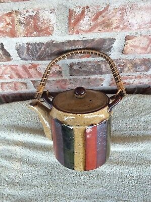 Vintage Japan Pottery OMC Striped Tea Pot Has Wooden Handle Protected Spout