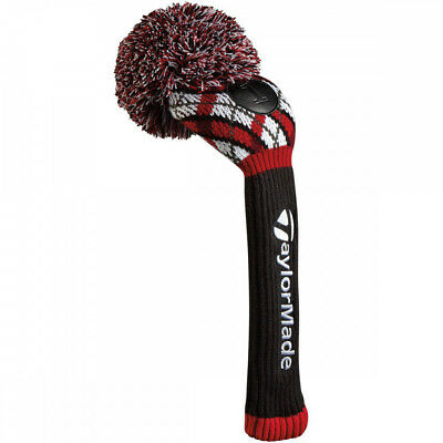 Red TaylorMade vintage driver head cover - knitted woollen pom pom driver cover