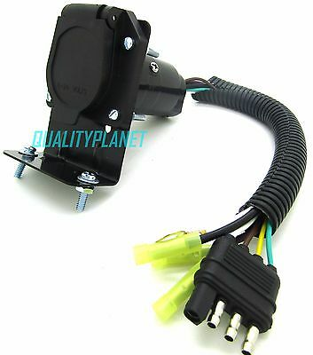 4 Flat to 7 Way RV Trailer Light Plug Wire Harness Converter Adapter