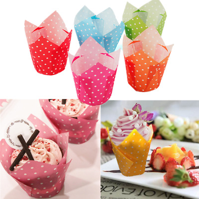 100PCS Cake Paper Cup Tulip Muffin Baking Wraps Cases Greaseproof Cupcake Cases