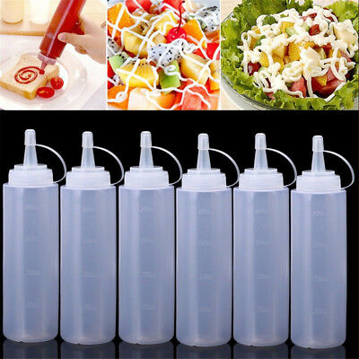 3~24X 8oz Plastic Squeeze Bottle Condiment Dispenser Ketchup Mustard Sauce Clear