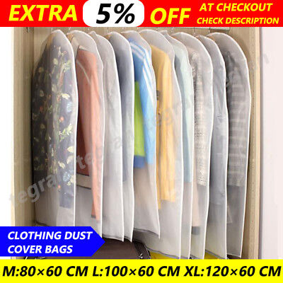 10x SUIT DRESS CLOTHING DUST COVER BAGS Jacket Wardrobe Storage Coat Protector