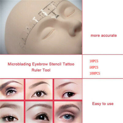 10/50Pcs Disposable Eyebrow Ruler Stickers Tattoo Microblading Measure Tool Set