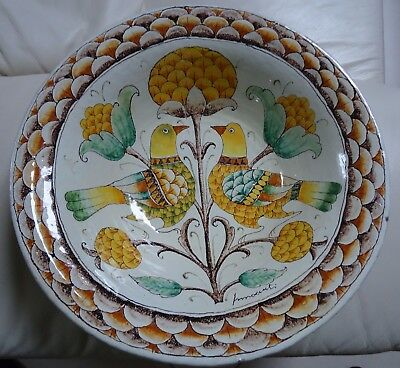 Romano Innocenti grand plat en terre cuite Made in Italie décoré main Ø. 37cm