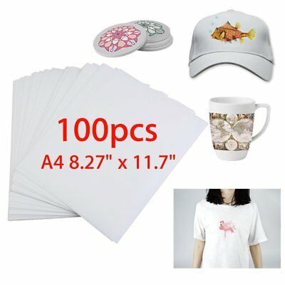 100 x Sheet A4 Sublimation Heat Transfer Paper for Mug Cup Plate Cotton T- Shirt