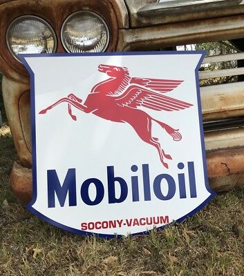 Antique Vintage Old Style Mobil Sign Socony - Vacuum