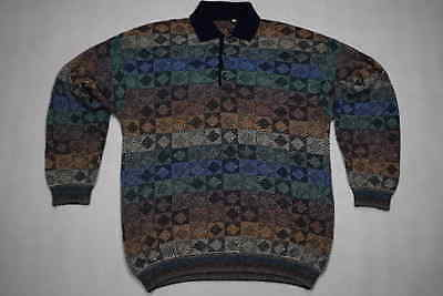 Strick Pullover Pulli Sweater Knit Sweatshirt Vintage Multicolour Polo 90er L-XL