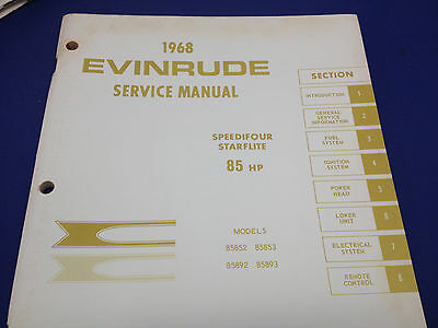 1968 Evinrude Service Manual Speedifour Starflite 85 HP Models Repair Outboard
