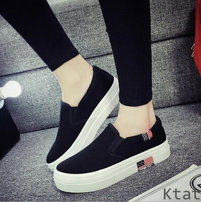 New Womens Fashion Canvas Shoes Flats Platform Slip On Casual Loafers Sneakers