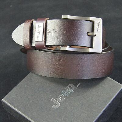 Mens Genuine Real Leather Belt Smooth Girdle Buckle Waistband Waist Band Strap