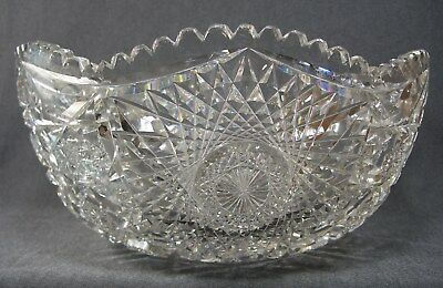 Antique Amercan Brilliant APB Period Crystal Saw Cut Glass Punch Bowl