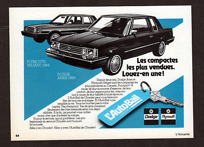 1984 PLYMOUTH Reliant Vintage Original small Print AD AutoBail Dodge Aries art