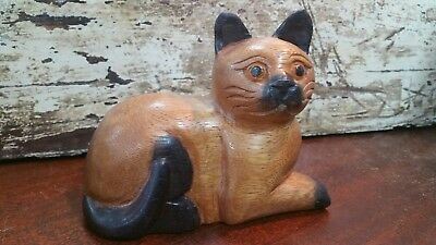 Vintage Cat Hand Carved Solid Wood Figurine Sculpture