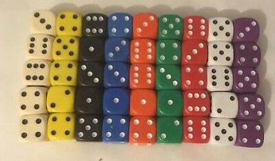 14mm Opaque Six Sided Spot Dice Games D6 9 Colours D&D RPG Pick qty 2, 5,10