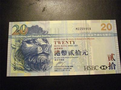Hong Kong Twenty Dollars in Uncirculated Condition  FREE Shipping!