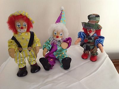 Set Of 3 Rubber Face Hands and Feet Clown Dolls Bendable Vintage
