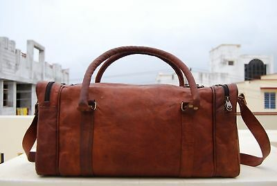 7cac5f441 Men's Vintage Brown Large Leather Gym Weekend Luggage Travel Duffle Bag  Handmade