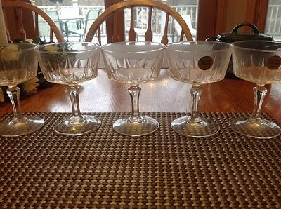 Versailles Cristal D'Arques-Durand Crystal Sherbert/Champagne Glasses 1950's