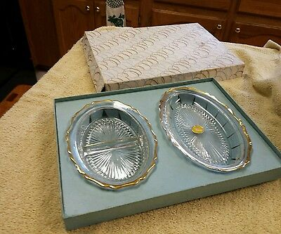 Jeanette 22kt Gold QualityWare:2 pc Condiments ServingTtrays:Divided & Undivided