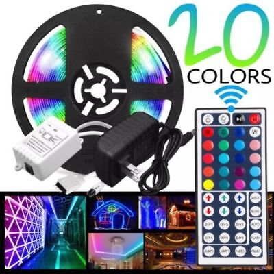 LED Light Strip 5M RGB 5050 12V with 44 key Remote Controller All Color FULL KIT