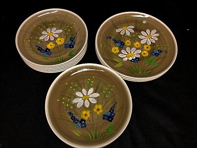 Vintage Mancioli Italy Hand Painted Daisy Floral Collection Plates